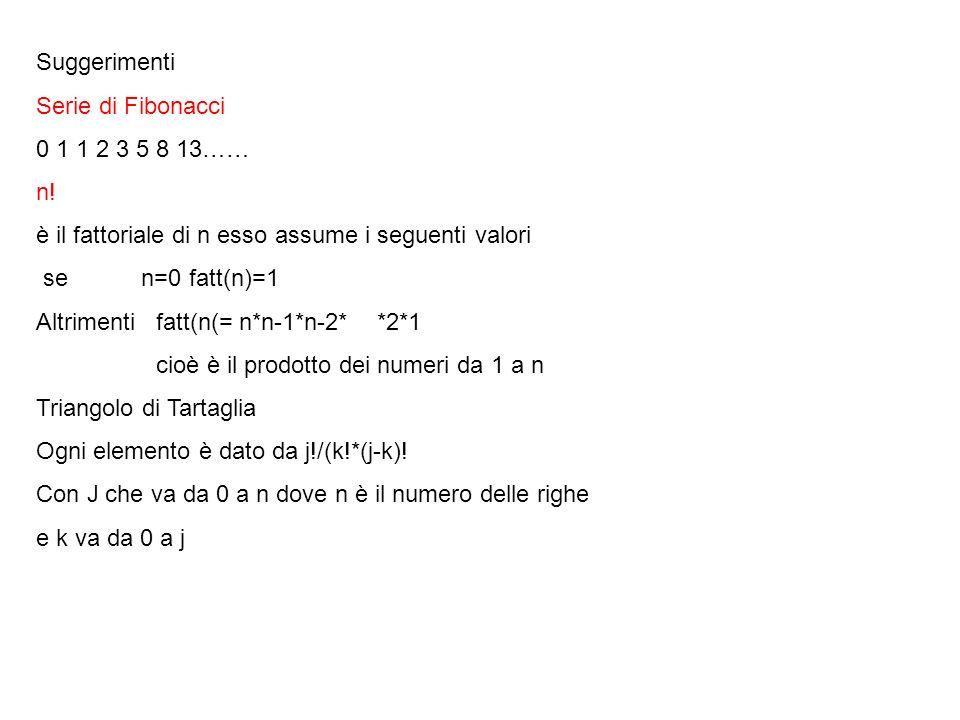 Suggerimenti Serie di Fibonacci 0 1 1 2 3 5 8 13…… n! è il fattoriale di n esso assume i seguenti valori se n=0 fatt(n)=1 Altrimenti fatt(n(= n*n-1*n-