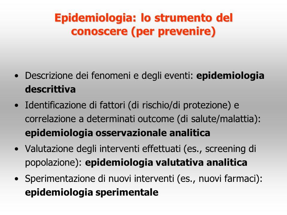Epidemiologia: lo strumento del conoscere (per prevenire) Descrizione dei fenomeni e degli eventi: epidemiologia descrittiva Identificazione di fattor