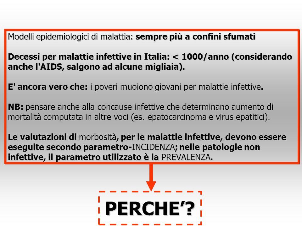 Modelli epidemiologici di malattia: sempre più a confini sfumati Decessi per malattie infettive in Italia: < 1000/anno (considerando anche l'AIDS, sal