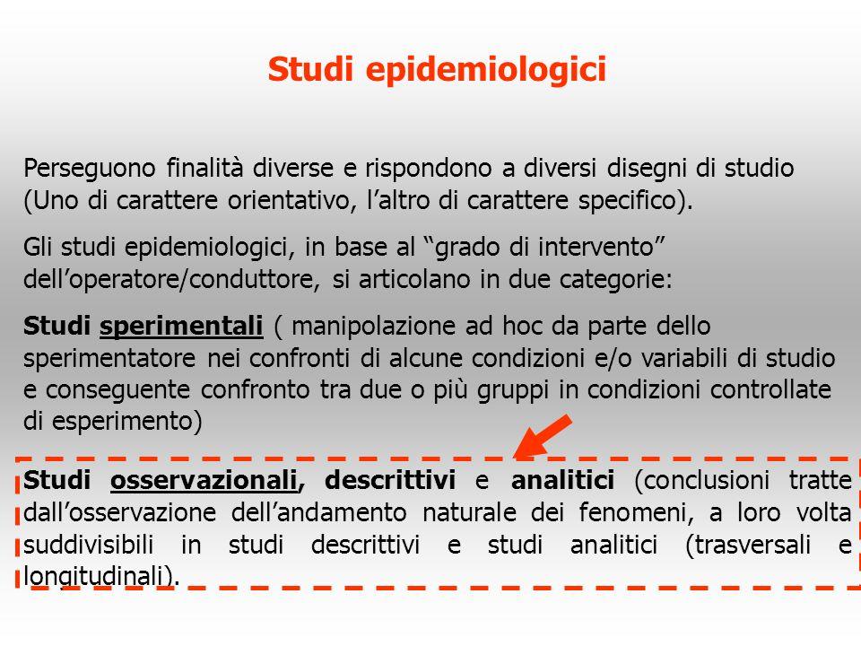 Studi epidemiologici Perseguono finalità diverse e rispondono a diversi disegni di studio (Uno di carattere orientativo, laltro di carattere specifico