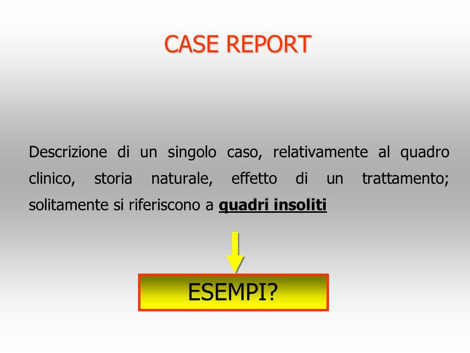 CASE REPORT Descrizione di un singolo caso, relativamente al quadro clinico, storia naturale, effetto di un trattamento; solitamente si riferiscono a