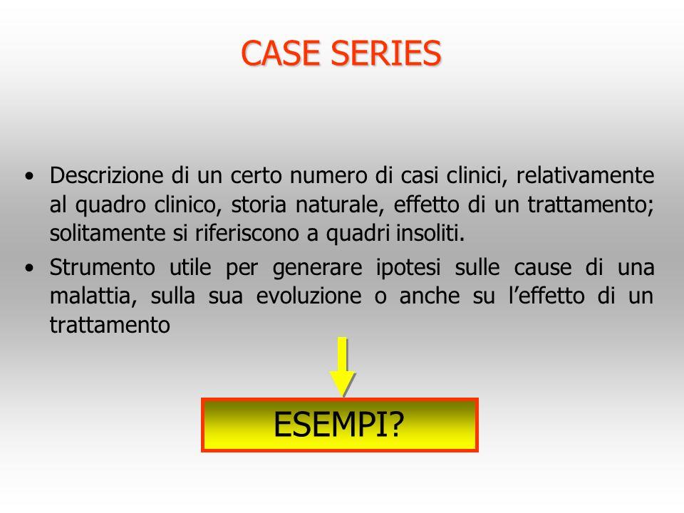 CASE SERIES Descrizione di un certo numero di casi clinici, relativamente al quadro clinico, storia naturale, effetto di un trattamento; solitamente s