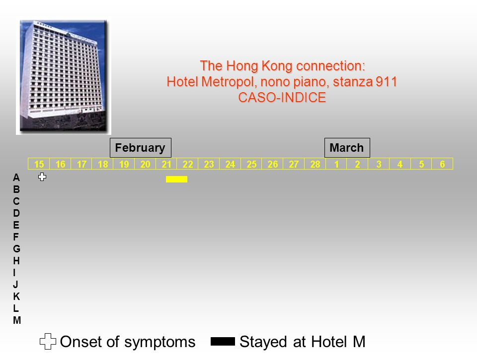 The Hong Kong connection: Hotel Metropol, nono piano, stanza 911 CASO-INDICE ABCDEFGHIJKLMABCDEFGHIJKLM Onset of symptomsStayed at Hotel M FebruaryMar
