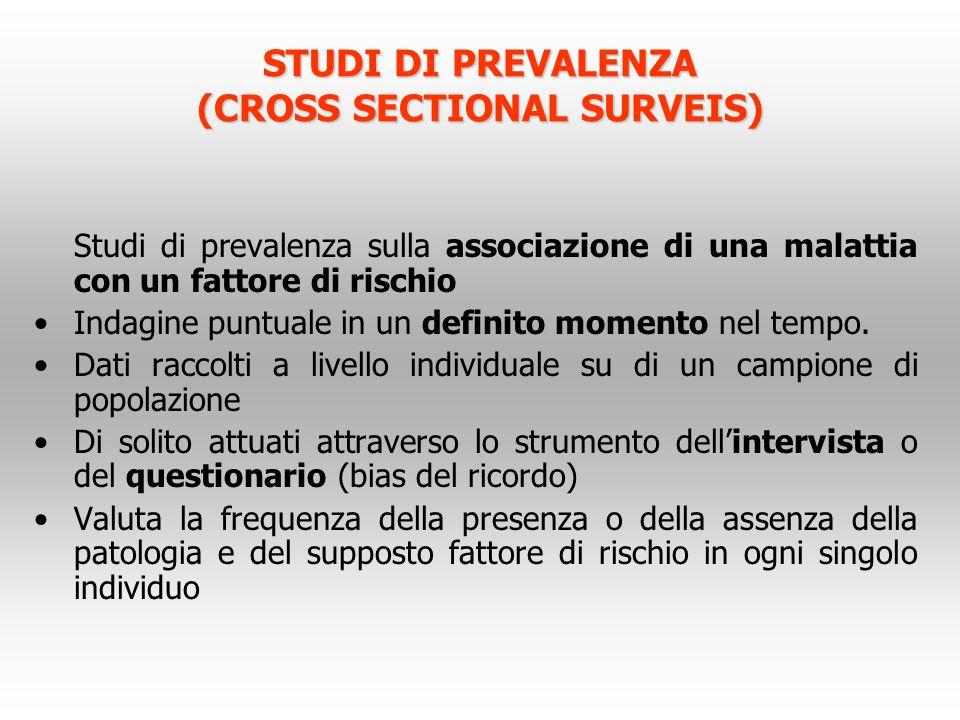 STUDI DI PREVALENZA (CROSS SECTIONAL SURVEIS) Studi di prevalenza sulla associazione di una malattia con un fattore di rischio Indagine puntuale in un