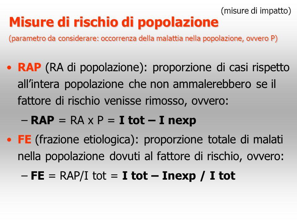 Misure di rischio di popolazione (parametro da considerare: occorrenza della malattia nella popolazione, ovvero P) RAP (RA di popolazione): proporzion
