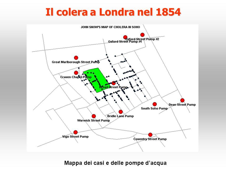 Il colera a Londra nel 1854 Mappa dei casi e delle pompe dacqua