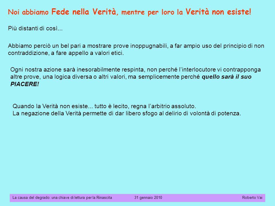 La causa del degrado: una chiave di lettura per la Rinascita 31 gennaio 2010 Roberto Vai Più distanti di così...