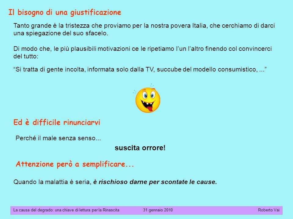 La causa del degrado: una chiave di lettura per la Rinascita 31 gennaio 2010 Roberto Vai Come mai così tanti italiani seguono il Pifferaio Magico.