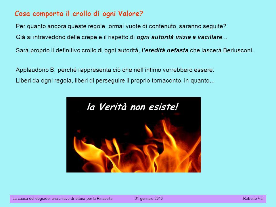 La causa del degrado: una chiave di lettura per la Rinascita 31 gennaio 2010 Roberto Vai Cosa comporta il crollo di ogni Valore.