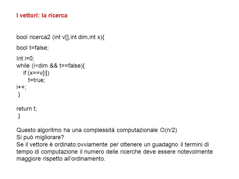 I vettori: la ricerca bool ricerca2 (int v[],int dim,int x){ bool t=false; Int i=0; while (i<dim && t==false){ if (x==v[i]) t=true; i++; } return t; } Questo algoritmo ha una complessità computazionale O(n/2) Si può migliorare.
