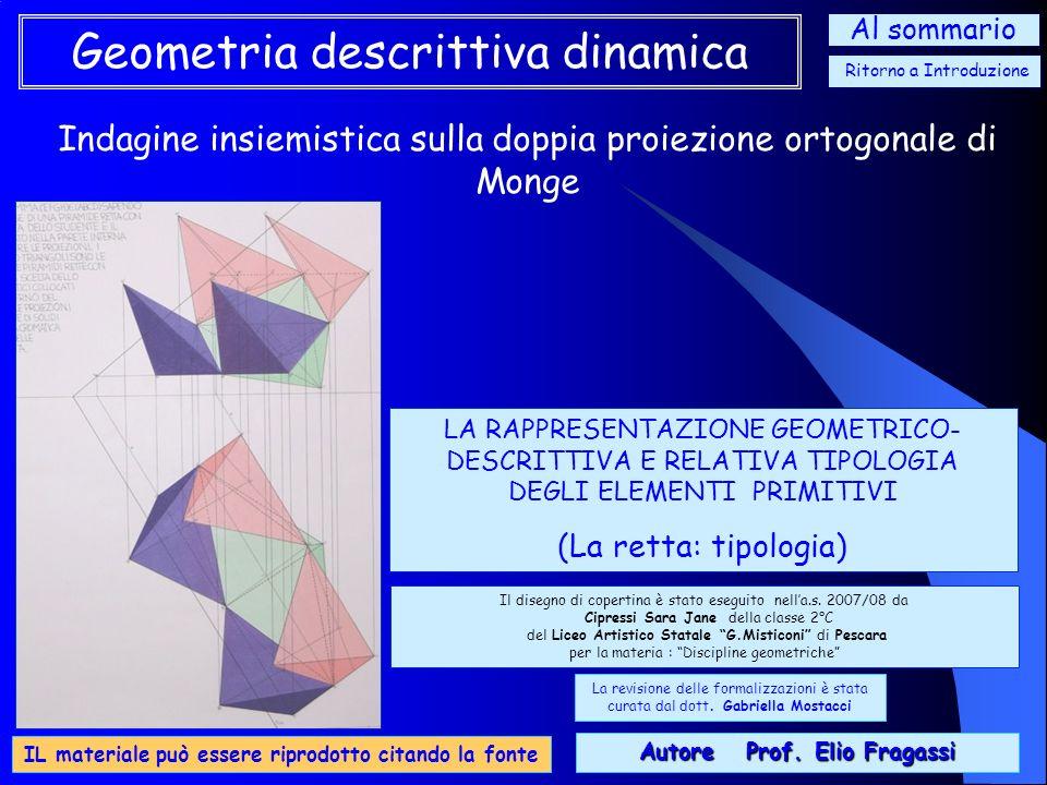 Indagine insiemistica sulla doppia proiezione ortogonale di Monge Geometria descrittiva dinamica Con questo learning object, naturale completamento de