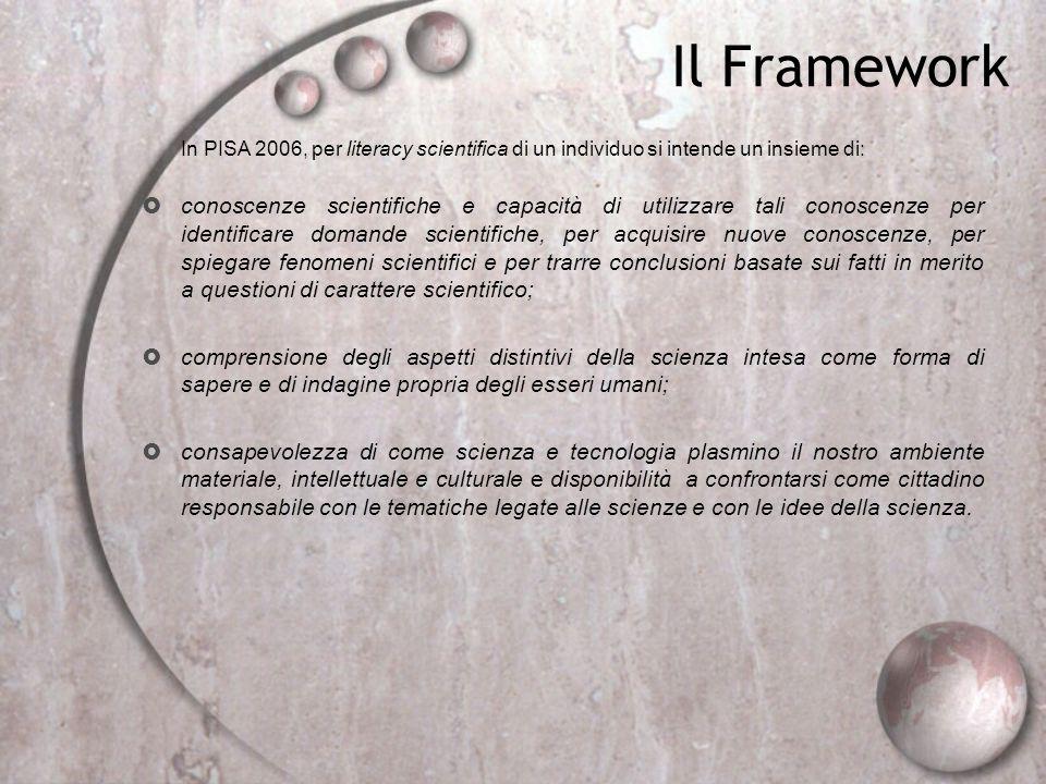 Il Framework In PISA 2006, per literacy scientifica di un individuo si intende un insieme di: conoscenze scientifiche e capacit à di utilizzare tali c