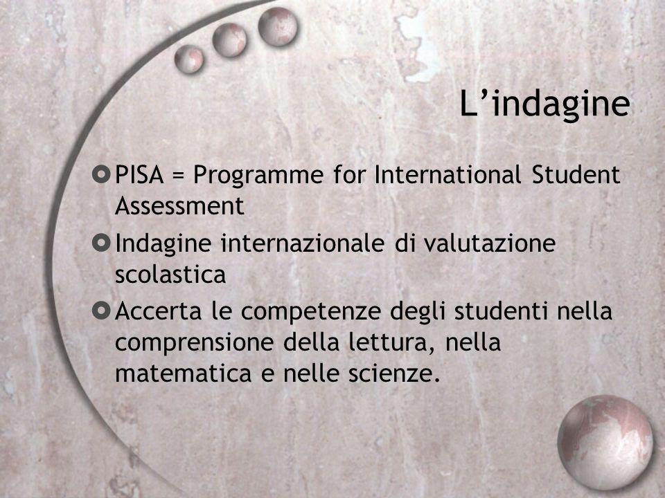 Lindagine PISA = Programme for International Student Assessment Indagine internazionale di valutazione scolastica Accerta le competenze degli studenti