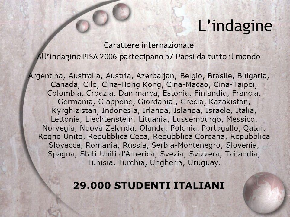 Lindagine Carattere internazionale Allindagine PISA 2006 partecipano 57 Paesi da tutto il mondo Argentina, Australia, Austria, Azerbaijan, Belgio, Bra