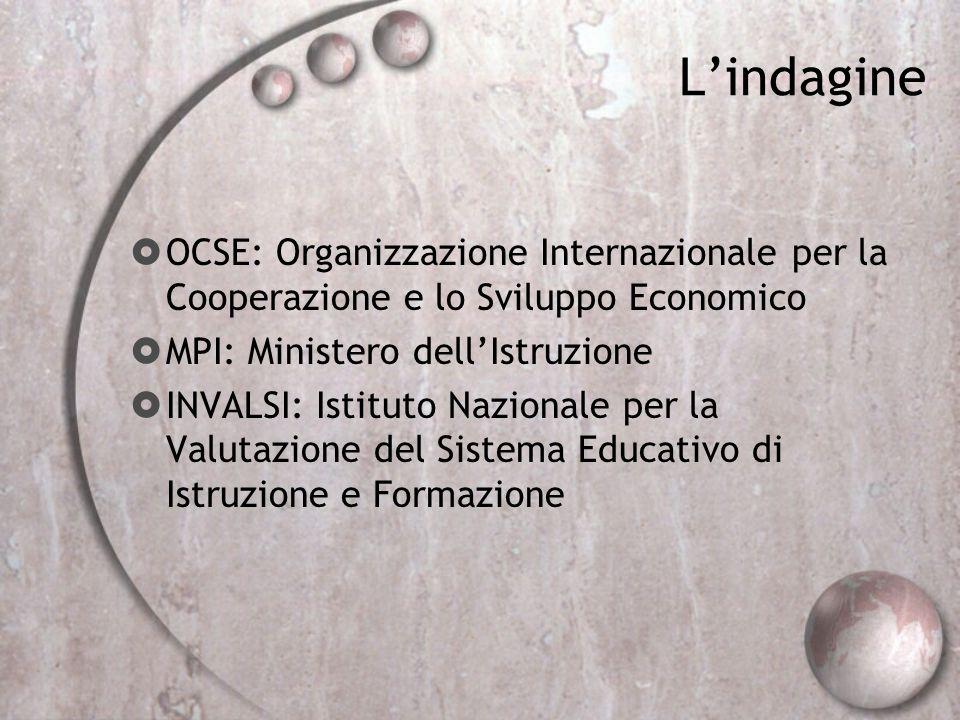 Lindagine OCSE: Organizzazione Internazionale per la Cooperazione e lo Sviluppo Economico MPI: Ministero dellIstruzione INVALSI: Istituto Nazionale pe