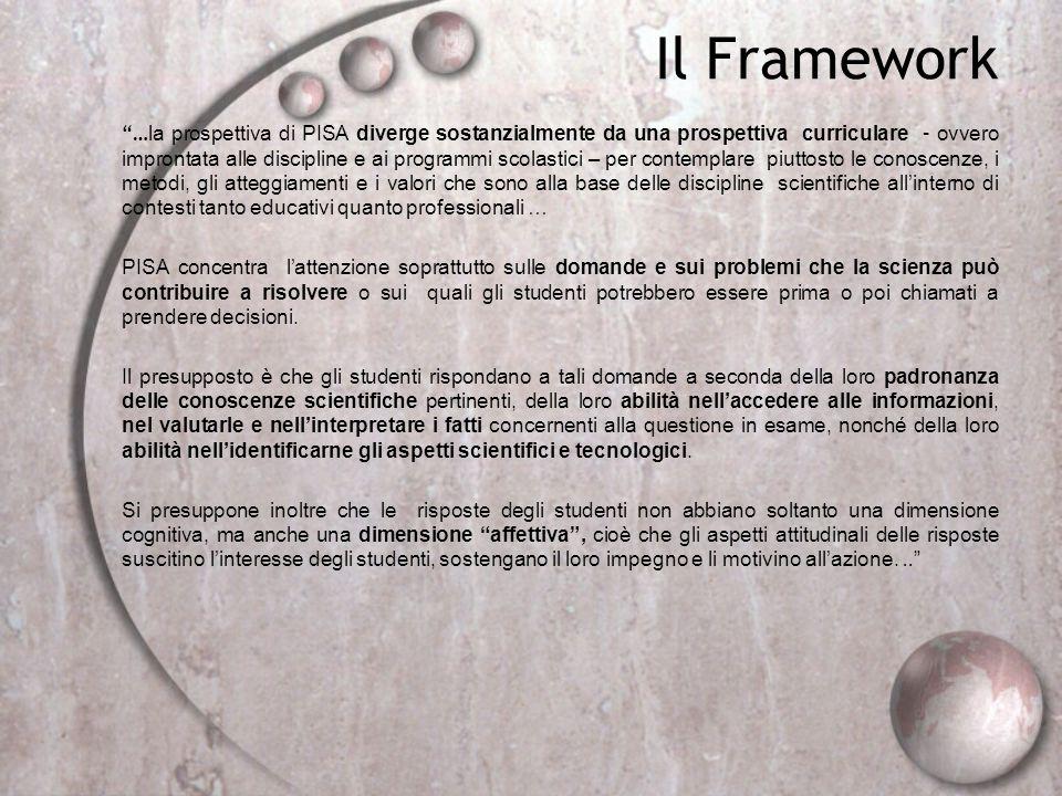 Il Framework … la prospettiva di PISA diverge sostanzialmente da una prospettiva curriculare – ovvero improntata alle discipline e ai programmi scolas