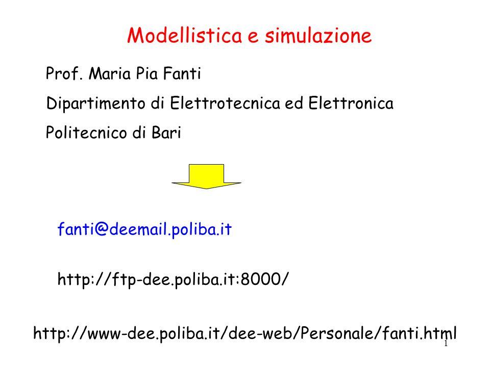 1 Modellistica e simulazione Prof. Maria Pia Fanti Dipartimento di Elettrotecnica ed Elettronica Politecnico di Bari fanti@deemail.poliba.it http://ft