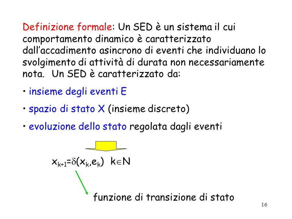 16 Definizione formale: Un SED è un sistema il cui comportamento dinamico è caratterizzato dallaccadimento asincrono di eventi che individuano lo svol