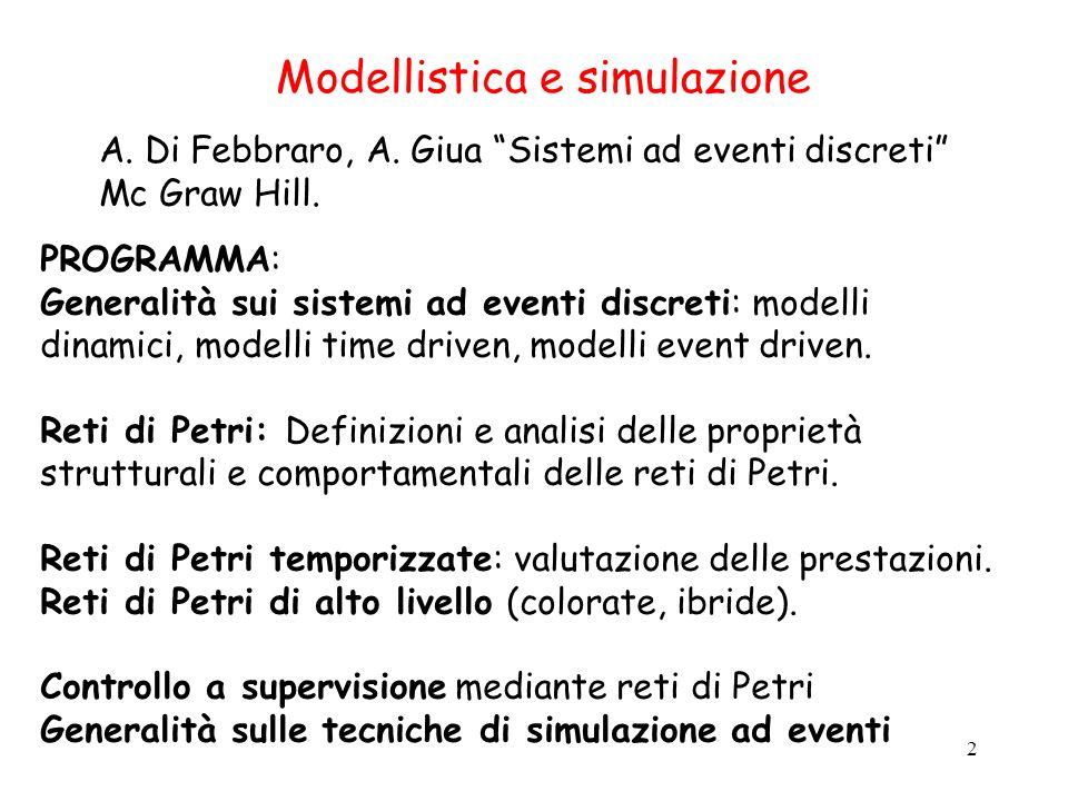 2 Modellistica e simulazione A. Di Febbraro, A. Giua Sistemi ad eventi discreti Mc Graw Hill. PROGRAMMA: Generalità sui sistemi ad eventi discreti: mo