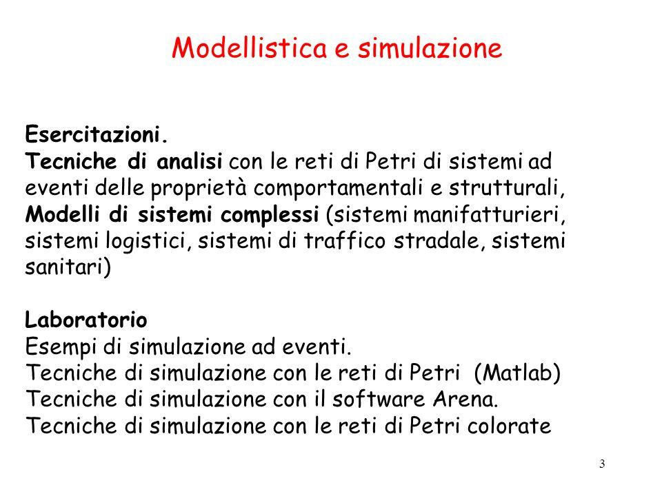 3 Modellistica e simulazione Esercitazioni. Tecniche di analisi con le reti di Petri di sistemi ad eventi delle proprietà comportamentali e struttural