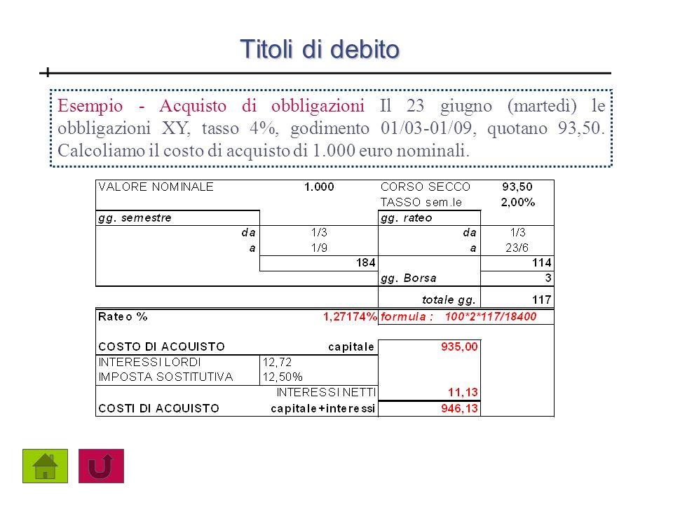 Titoli di debito Esempio - Acquisto di obbligazioni Il 23 giugno (martedì) le obbligazioni XY, tasso 4%, godimento 01/03-01/09, quotano 93,50. Calcoli