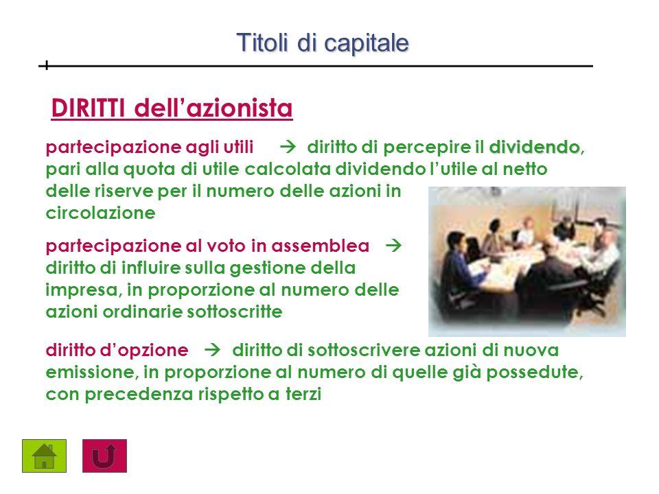 Titoli di capitale Titoli di capitale partecipazione al voto in assemblea diritto di influire sulla gestione della impresa, in proporzione al numero d
