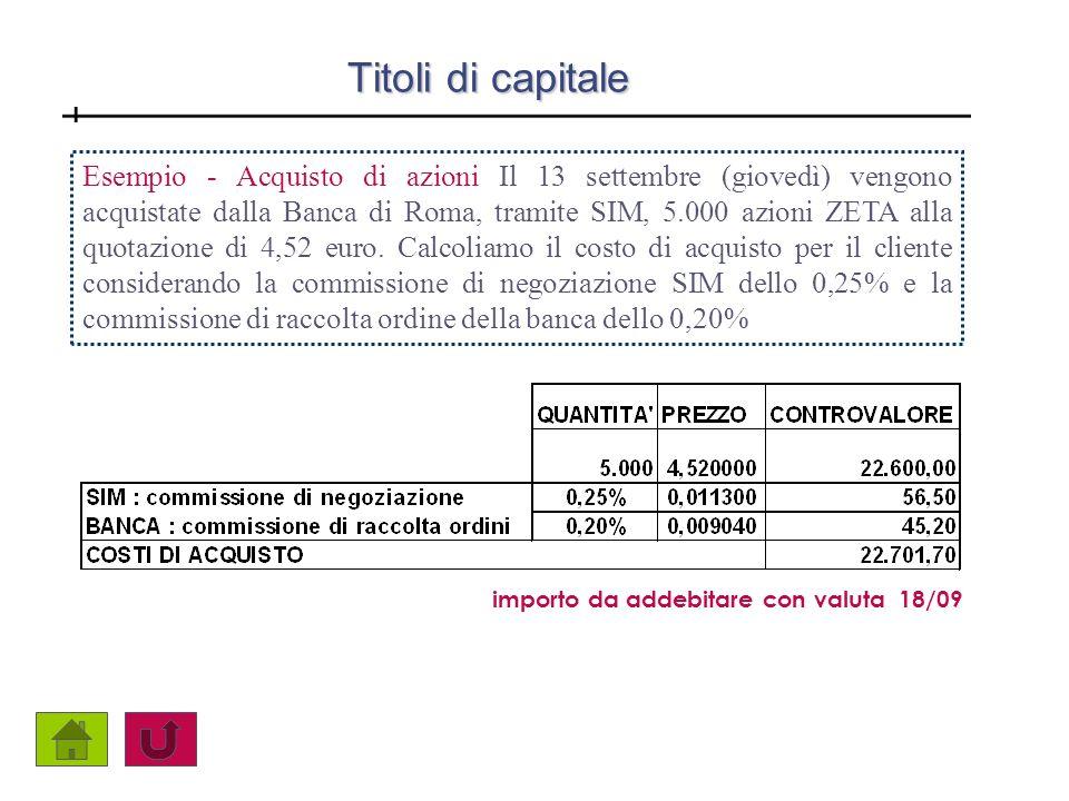 Titoli di capitale Esempio - Acquisto di azioni Il 13 settembre (giovedì) vengono acquistate dalla Banca di Roma, tramite SIM, 5.000 azioni ZETA alla