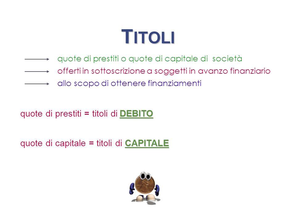 T ITOLI CAPITALE CAPITALE quote di capitale = titoli di CAPITALECAPITALE quote di prestiti o quote di capitale di società offerti in sottoscrizione a