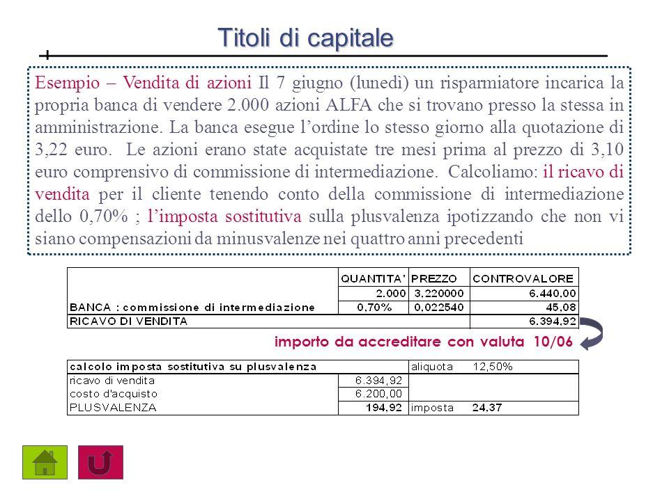 Titoli di capitale Esempio – Vendita di azioni Il 7 giugno (lunedì) un risparmiatore incarica la propria banca di vendere 2.000 azioni ALFA che si tro