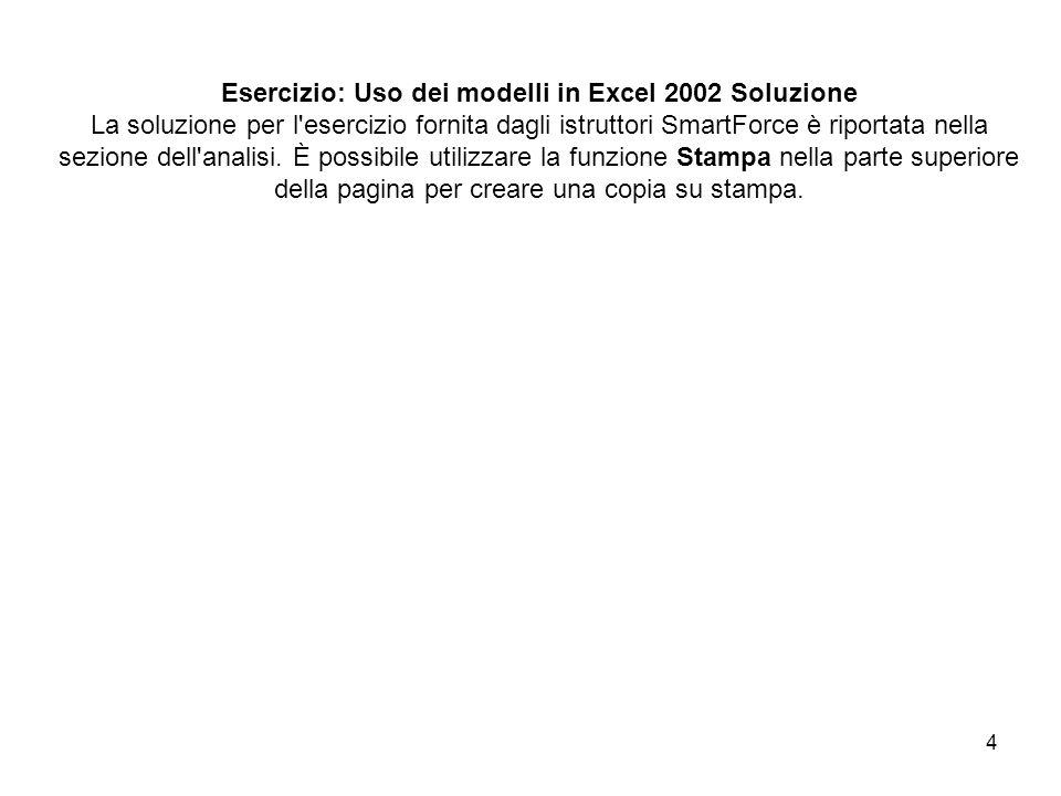 4 Esercizio: Uso dei modelli in Excel 2002 Soluzione La soluzione per l esercizio fornita dagli istruttori SmartForce è riportata nella sezione dell analisi.