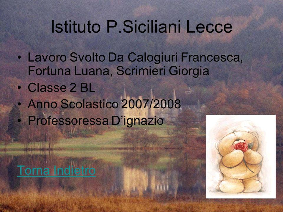 Istituto P.Siciliani Lecce Lavoro Svolto Da Calogiuri Francesca, Fortuna Luana, Scrimieri Giorgia Classe 2 BL Anno Scolastico 2007/2008 Professoressa