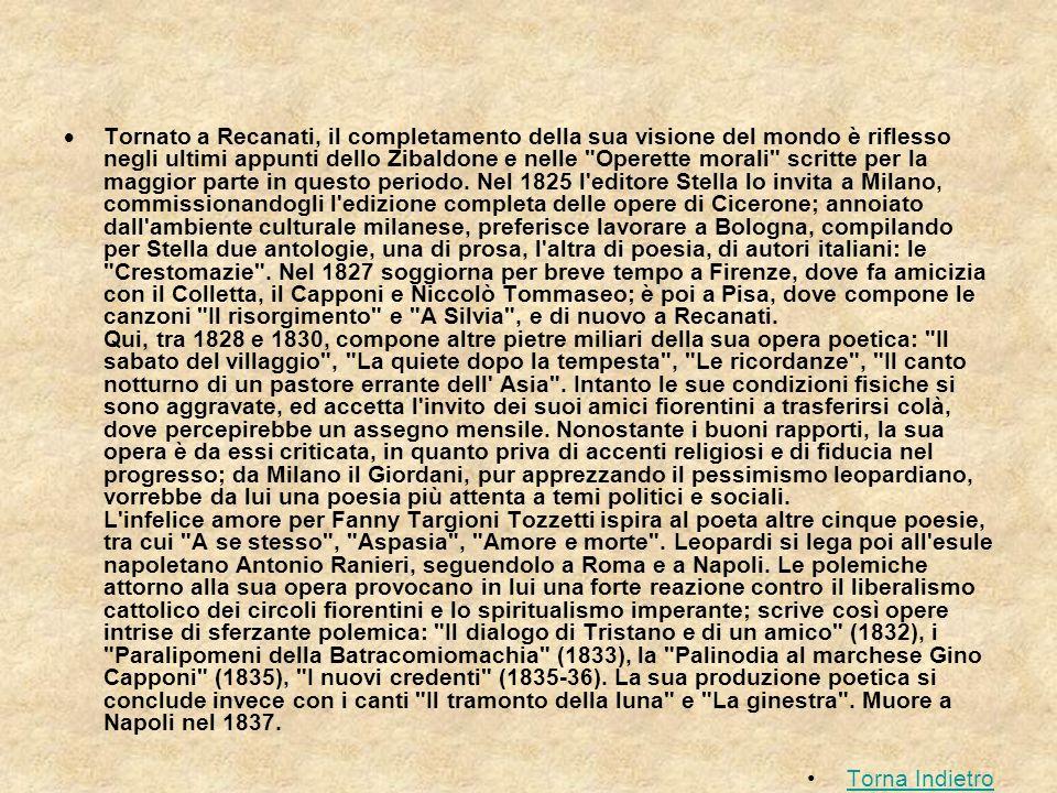 Tornato a Recanati, il completamento della sua visione del mondo è riflesso negli ultimi appunti dello Zibaldone e nelle