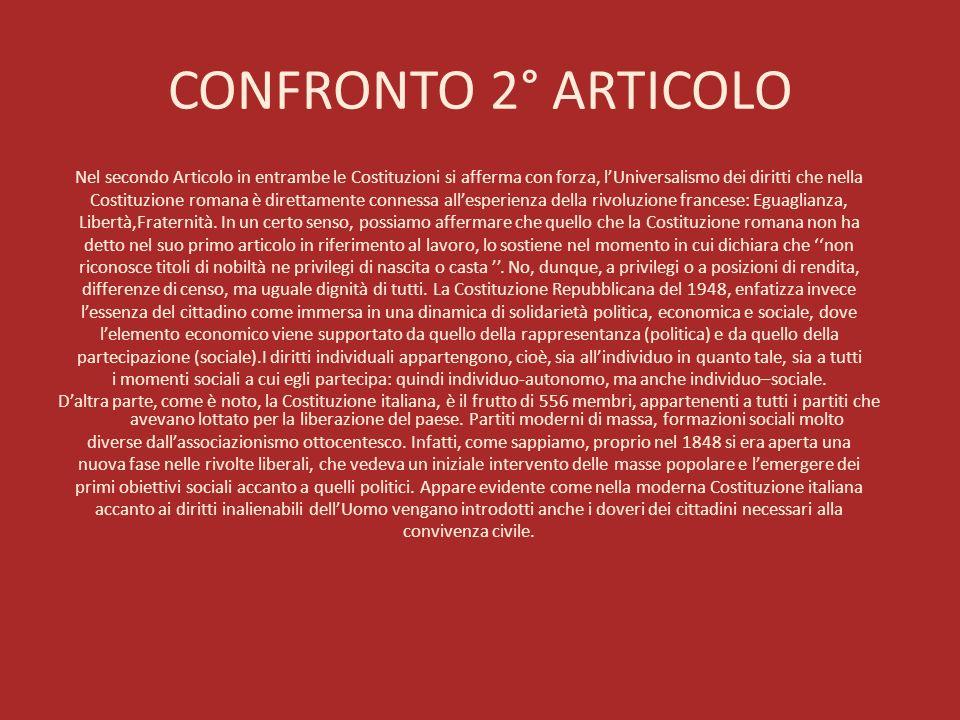 CONFRONTO 2° ARTICOLO Nel secondo Articolo in entrambe le Costituzioni si afferma con forza, lUniversalismo dei diritti che nella Costituzione romana