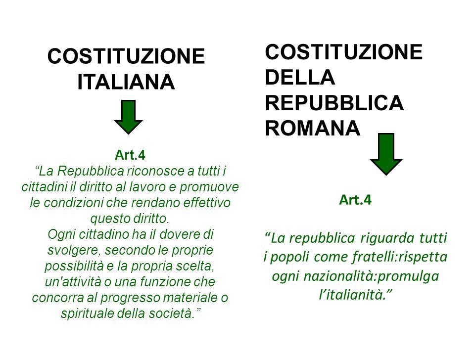 Art.4La repubblica riguarda tutti i popoli come fratelli:rispetta ogni nazionalità:promulga litalianità. Art.4 La Repubblica riconosce a tutti i citta