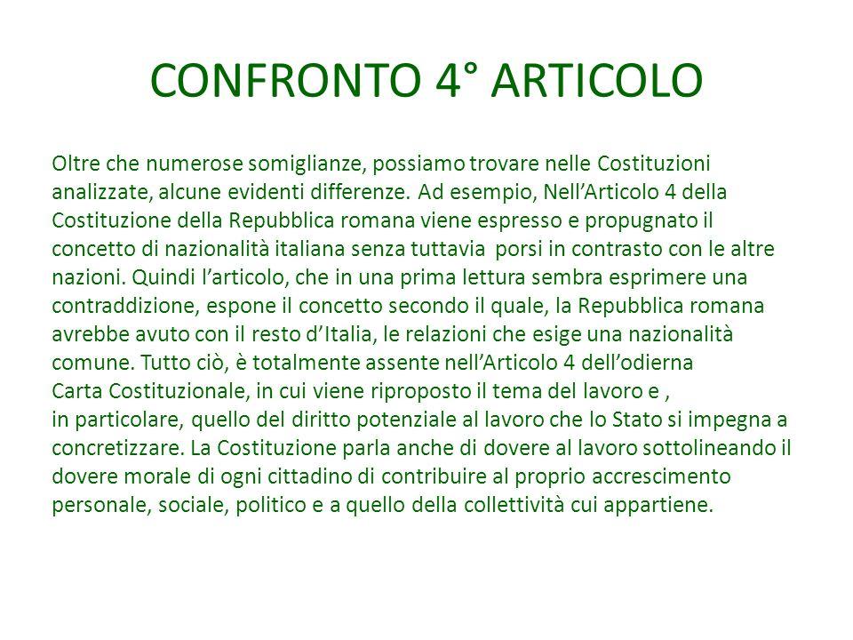 CONFRONTO 4° ARTICOLO Oltre che numerose somiglianze, possiamo trovare nelle Costituzioni analizzate, alcune evidenti differenze.