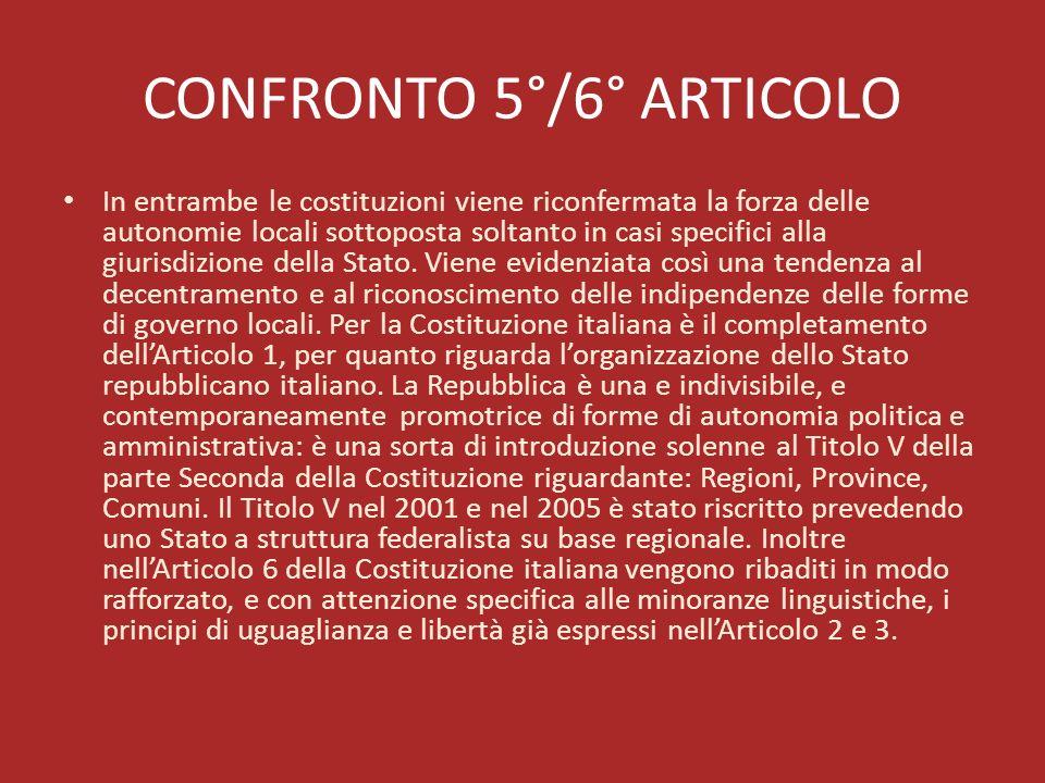 CONFRONTO 5°/6° ARTICOLO In entrambe le costituzioni viene riconfermata la forza delle autonomie locali sottoposta soltanto in casi specifici alla giu