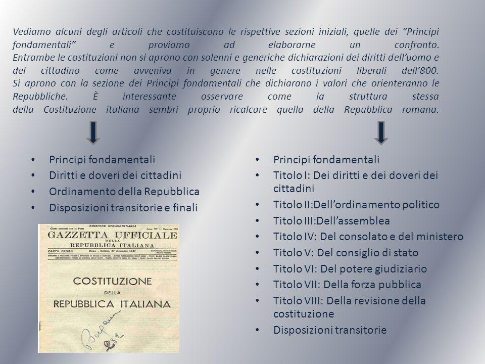 COSTITUZIONE REPUBBLICA ROMANA: Art.1: La sovranità è per diritto eterno nel popolo.