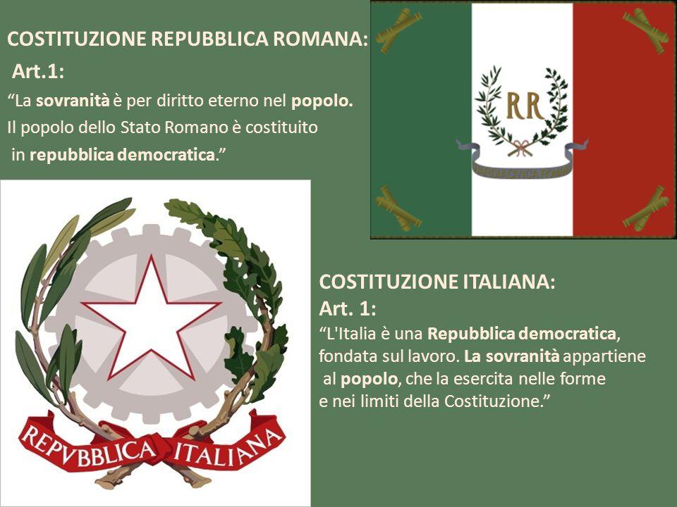 CONFRONTO 1° ARTICOLO Colpisce come le parole chiave dellArticolo 1 della Costituzione della Repubblica romana,siano le stesse che strutturano lArticolo I della Costituzione italiana: Sovranità, Popolo, Repubblica democratica.