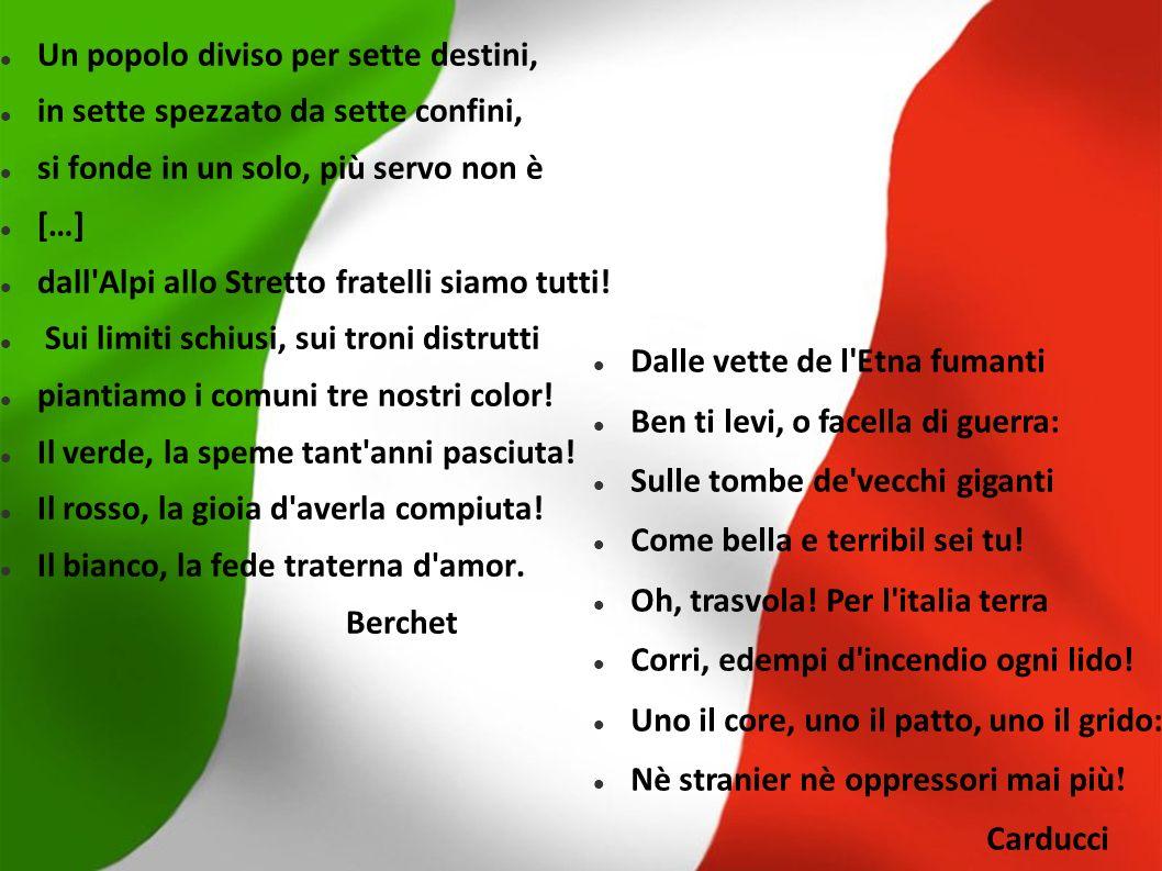 Italia, Italia con eterei radi Sull orizzonte tuo torna l aurora Annunziatrice di perpetuo sole Foscolo Italia, Italia, sacra la nuova aurora con l aratro e la prora.