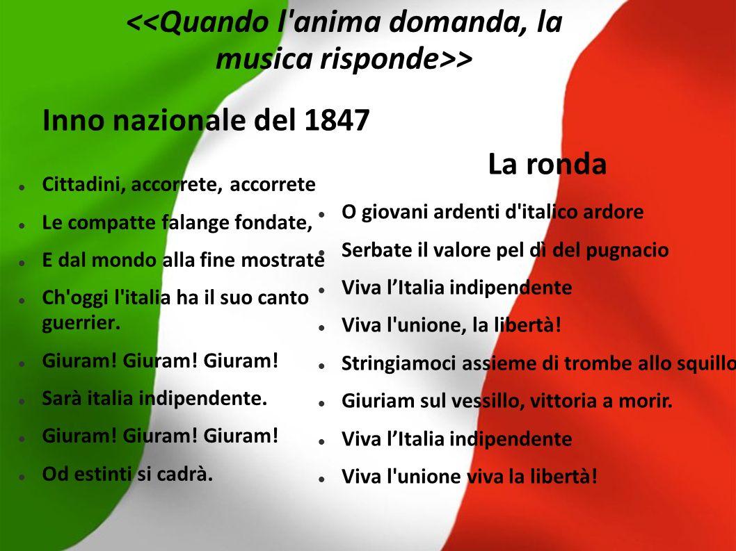 Inno nazionale del 1847 Cittadini, accorrete, accorrete Le compatte falange fondate, E dal mondo alla fine mostrate Ch'oggi l'italia ha il suo canto g