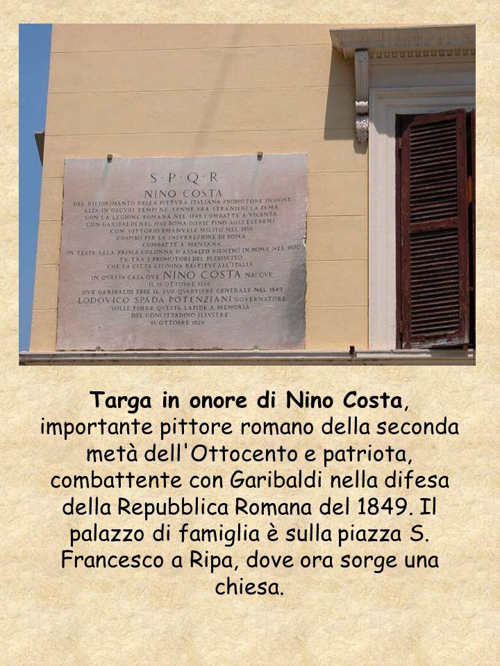 Targa in onore di Nino Costa, importante pittore romano della seconda metà dell'Ottocento e patriota, combattente con Garibaldi nella difesa della Rep