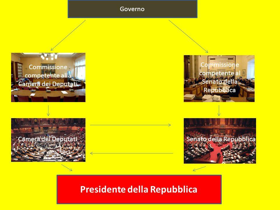 Governo Commissione competente alla Camera dei Deputati Commissione competente al Senato della Repubblica Camera dei DeputatiSenato della Repubblica Presidente della Repubblica