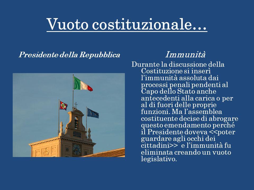 Vuoto costituzionale… Presidente della Repubblica Immunità Durante la discussione della Costituzione si inserì limmunità assoluta dai processi penali