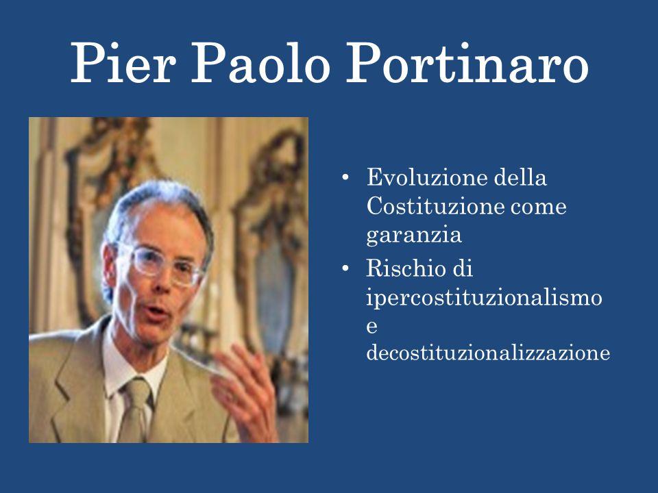 Pier Paolo Portinaro Evoluzione della Costituzione come garanzia Rischio di ipercostituzionalismo e decostituzionalizzazione