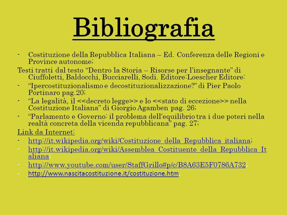 Bibliografia -Costituzione della Repubblica Italiana – Ed. Conferenza delle Regioni e Province autonome; Testi tratti dal testo Dentro la Storia – Ris