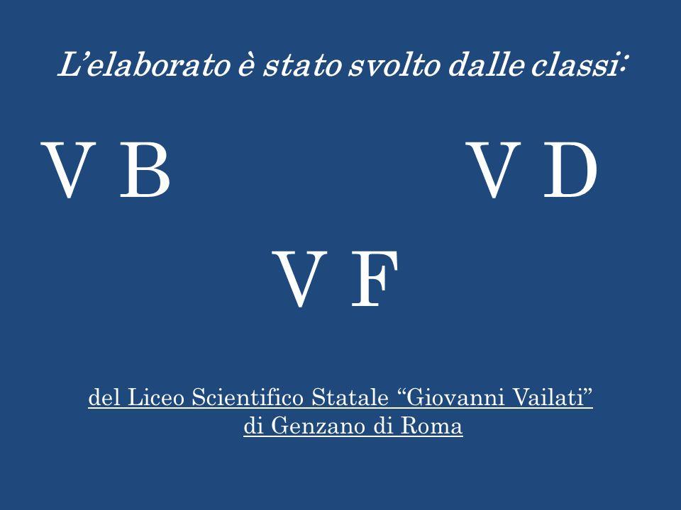 Lelaborato è stato svolto dalle classi: V B V D V F del Liceo Scientifico Statale Giovanni Vailati di Genzano di Roma