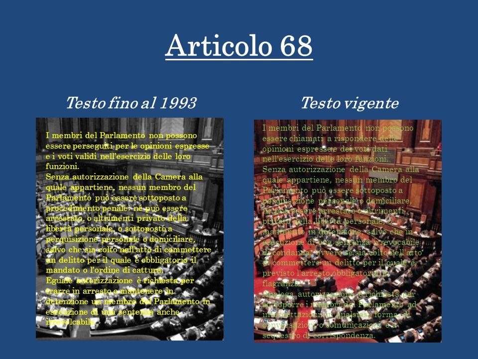 Articolo 68 Testo fino al 1993Testo vigente I membri del Parlamento non possono essere perseguiti per le opinioni espresse e i voti validi nelleserciz