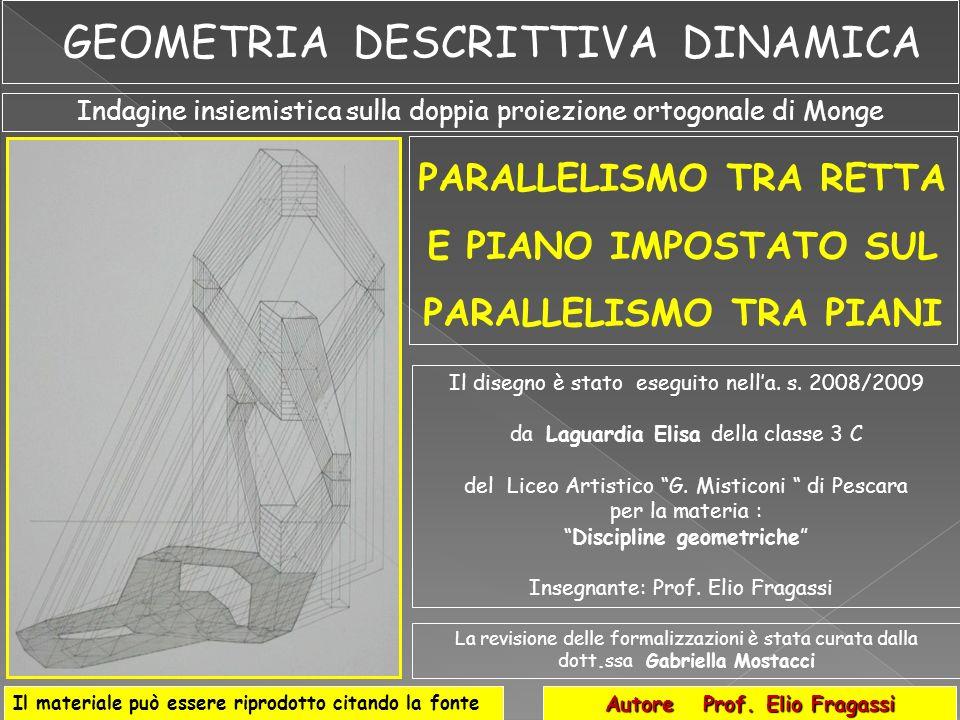 In aggiunta alla procedura discussa e basata sul parallelismo tra la retta data ed una retta del piano, possiamo sviluppare anche analisi di verifica del concetto di parallelismo tra la retta r ed il piano sulla base delle leggi del parallelismo tra piani, come nel disegno di (Fig.23).