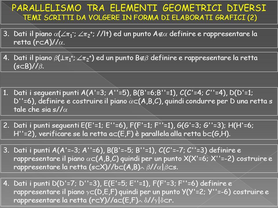 3.Dati il piano ( 1 - ; 2 + ; //lt) ed un punto A definire e rappresentare la retta (r A)//.