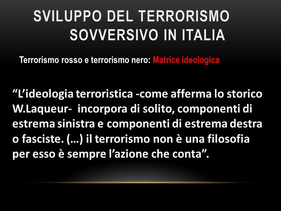 Terrorismo rosso e terrorismo nero: Matrice ideologica Lideologia terroristica -come afferma lo storico W.Laqueur- incorpora di solito, componenti di
